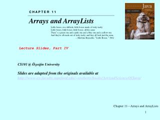 Chapter 11—Arrays and ArrayLists