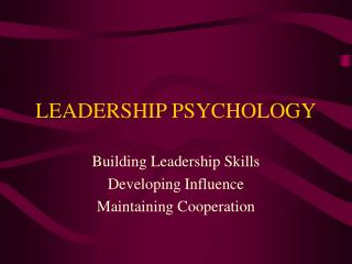 LEADERSHIP PSYCHOLOGY
