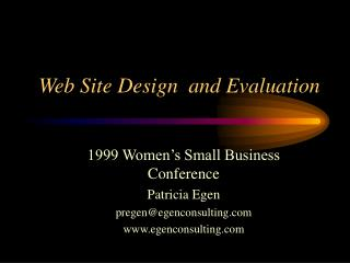 Web Site Design  and Evaluation