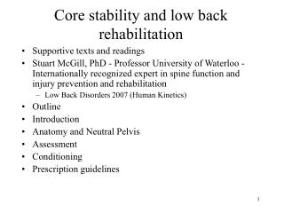 Core stability and low back rehabilitation