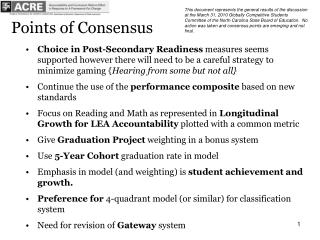 Points of Consensus