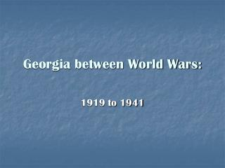 Georgia between World Wars: