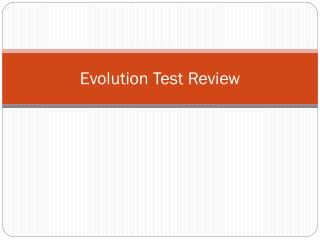 Evolution Test Review