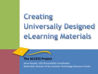 Creating  Universally Designed eLearning Materials