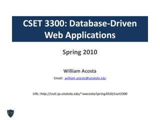 CSET 3300: Database-Driven  Web Applications