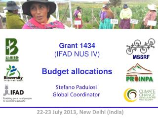 Grant 1434  (IFAD NUS  IV) Budget allocations