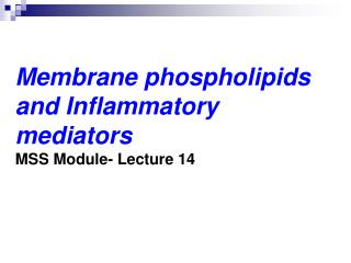 Membrane phospholipids and Inflammatory mediators MSS Module- Lecture 14