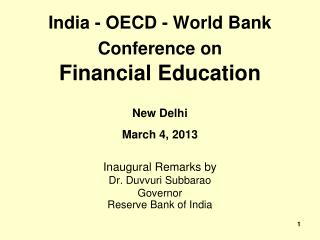India - OECD - World Bank Conference on  Financial Education