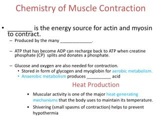 Chemistry of Muscle Contraction