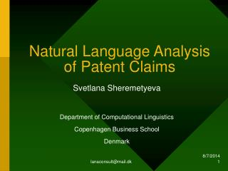 Natural Language Analysis of Patent Claims