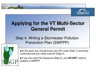 Applying for the VT Multi-Sector General Permit