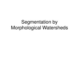 Segmentation by Morphological Watersheds