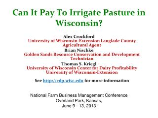 Can It Pay To Irrigate Pasture  in Wisconsin?