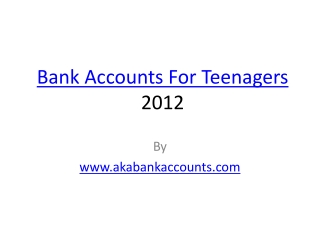 Bank Accounts For Teenagers