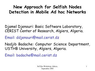 New Approach for Selfish Nodes Detection in Mobile Ad hoc Networks