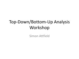 Top-Down/Bottom-Up Analysis Workshop