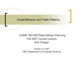 Crowd Behavior and Traffic Patterns