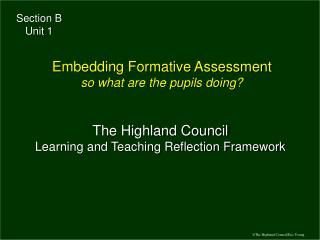 The Highland Council Learning and Teaching Reflection Framework