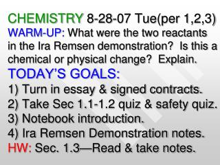 What were the two reactants in the Ira Remsen demonstration?