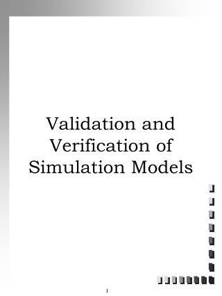 Validation and Verification of Simulation Models