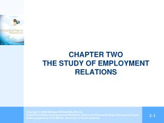 CHAPTER TWO THE STUDY OF EMPLOYMENT RELATIONS