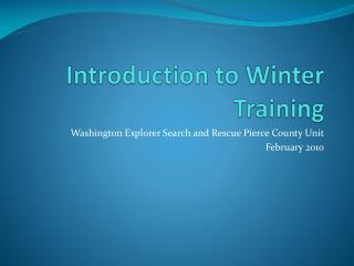 Introduction to Winter Training