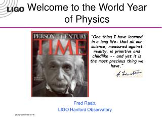 Welcome to the World Year of Physics