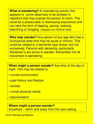 When might a person wander?  Any time of the day or night. This may be related to
