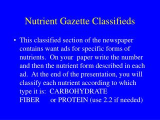 Nutrient Gazette Classifieds