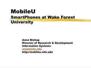 MobileU SmartPhones at Wake Forest University
