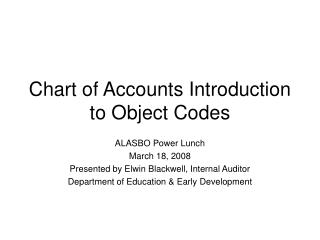 Chart of Accounts Introduction to Object Codes