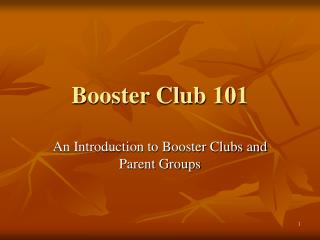Booster Club 101
