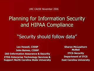 Planning for Information Security and HIPAA Compliance