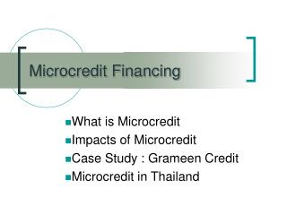 Microcredit Financing