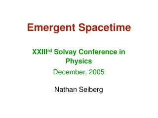 Emergent Spacetime