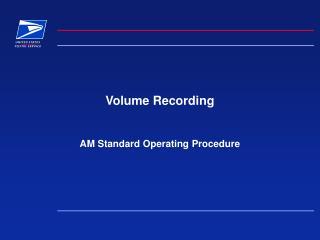Volume Recording