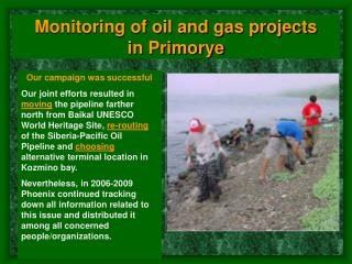 Monitoring of oil and gas projects in Primorye