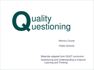 Quality Questioning  in the Classroom