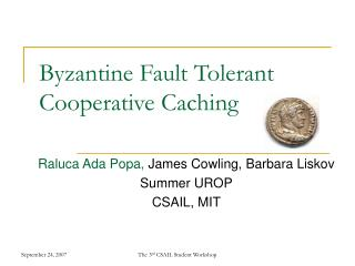 Byzantine Fault Tolerant Cooperative Caching