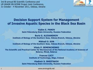 Decision Support System for Management  of Invasive Aquatic Species in the Black Sea Basin