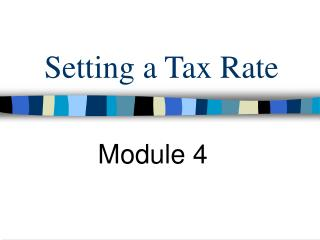 Setting a Tax Rate