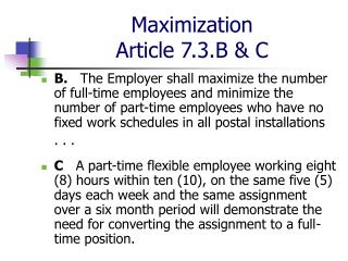 Maximization Article 7.3.B & C