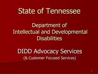 State of Tennessee Department of  Intellectual and Developmental Disabilities