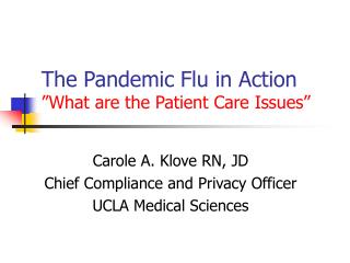 "The Pandemic Flu in Action  ""What are the Patient Care Issues"""