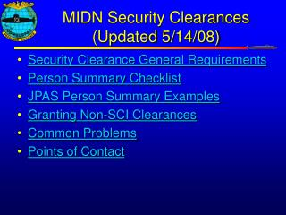 MIDN Security Clearances (Updated 5/14/08)
