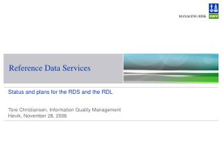 Reference Data Services