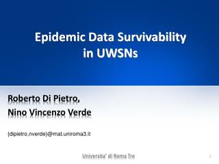Epidemic Data Survivability  in UWSNs