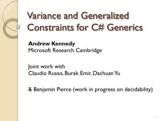 Variance and Generalized Constraints for C# Generics