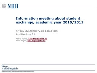 Information meeting about student exchange, academic year 2010/2011