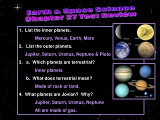 Earth & Space Science Chapter 27 Test Review